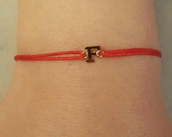 14K Gold Custom Intial Red String Bracelet
