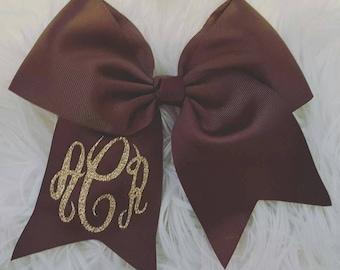 Monogram Glitter Initials Hair Bow