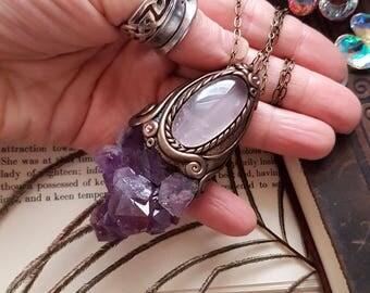 Libra Sun - Raw Amethyst & Gemmy Rose Quartz Crystal Energy Pendant - Intuition through the Heart, Feminine Wisdom