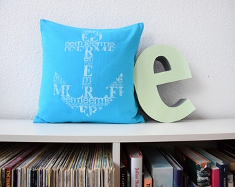 Pillow Typo anchor turquoise 40x40 Hand-printed