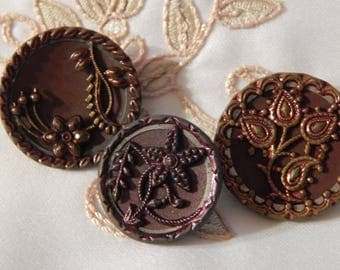 Red Tinted Floral Antique Buttons - 3