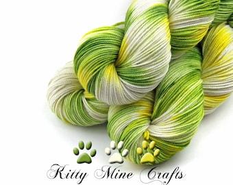 Dandelion Dance Sport Yarn, 85/15 Superfine Merino/ Cultivated Silk - 225yds/ 233m - Phat Fiber Bees Knees - Luxury Yarn - Yellow, Green