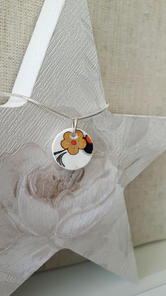 Broken china vintage porcelain pendant.  Silver snake chain.  Unusual pendant.  Floral pendant.  Handmade in Wales UK.