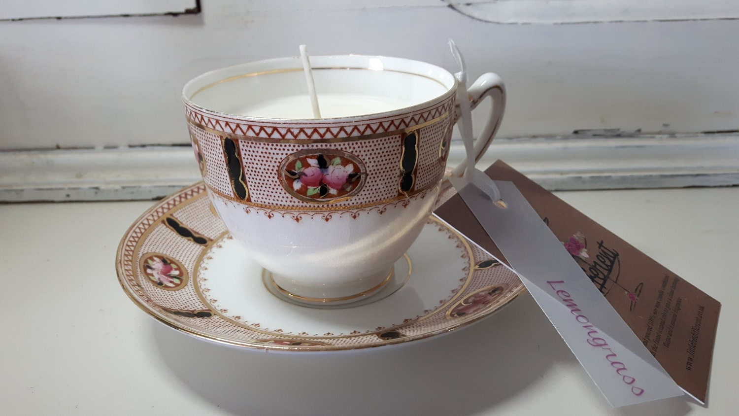 Hand poured scented soy wax  vintage Paragon tea cup candle, scented with  lemongrass.