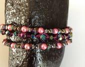 Multi-coloured, multi- beaded, 3 stranded bracelet