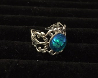10mm Mermaid Blue Filigree Adjustable Ring