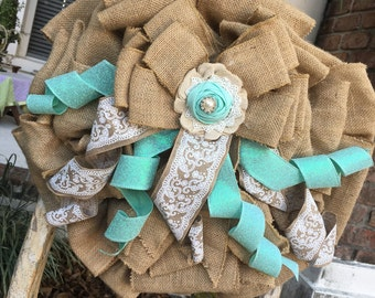 Burlap and Bling teal wreath