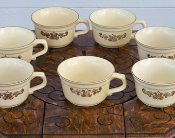 Set Of 7 Pfaltzgraff Cups - Village Pattern