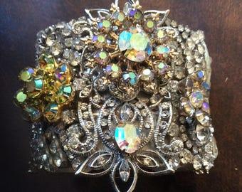 Fabulous Upcycled Rhinestone Cuff Bracelet