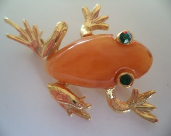 Vintage Unsigned Goldtone Orange Resin Belly Frog Brooch/Pin  1960s   Very Cute
