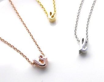 A Dainty Silver Rose Gold or 16k Gold Plated Cursive Initial Choker-Letter Choker-Initial Necklace-Lowercase Script Initial Choker