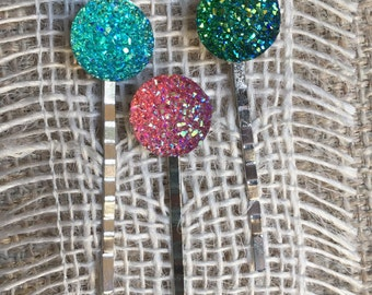 Druzy Bobby Pins - Sparkly Hair Pins - Shiny Bobby Pins - Faux Druzy Hair Accessories - Hair Jewelry - Girl Gift Idea - Cute Hair Jewelry