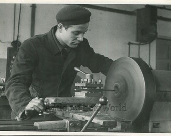Soviet worker with lathe machine vintage occupational photo Russia