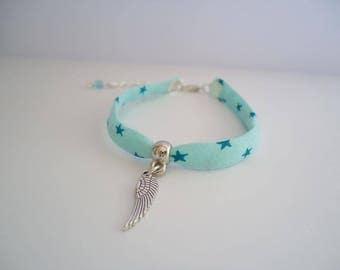 Blue bracelet with a silvery wing - Gypsy chic jewelry - Bonhemian style