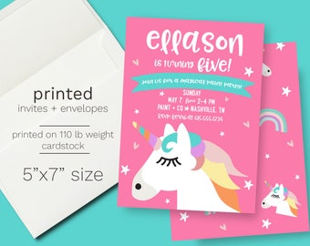 PRINTED Pink Unicorn Birthday Party Invite // Envelopes Incuded Pastel Color Magical Rainbow Birthday Party Whimsical Unicorn