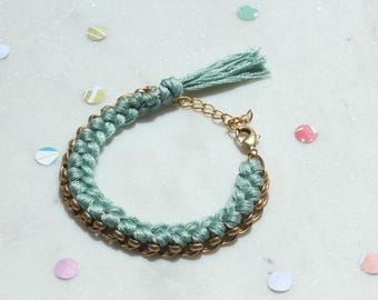 Blue/Handwoven Chain Bracelet/Friendship Bracelet