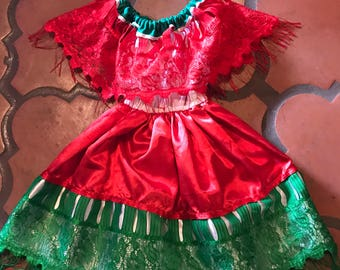 Vintage Toddler Mexican Dress Red, White Green - Lace Off Shoulder Cape Chest & Back Sz 2T