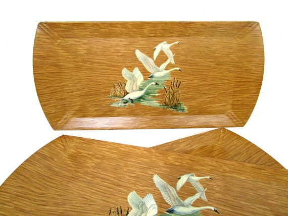 Set of 6 Trays, Swans, Geese, Coronet Serving Trays, Wood Lithographed Trays by Coronet, Mid Century 1950s