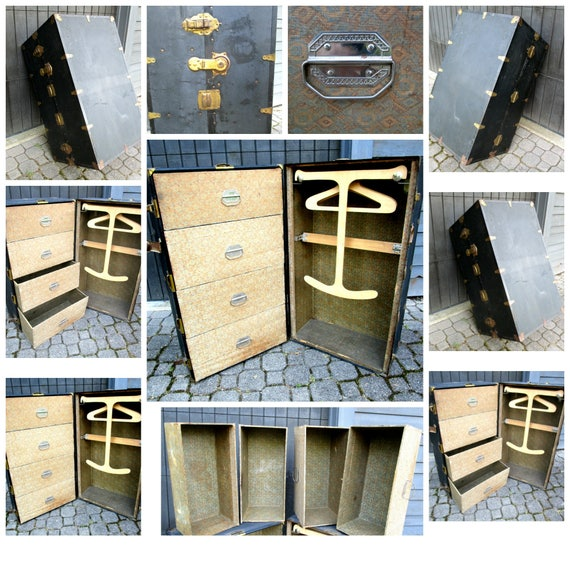 Antique Steamer Trunk or Wardrobe, Fold Out Wardrobe, Original Hangers, 4 Drawers, Travel Trunk, Great Condition, 1920s