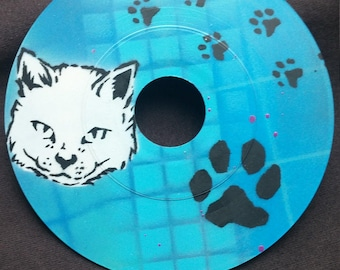 "Kitty Cat Paw Stencil Art Hand Painted on a 7"" Vinyl Record"