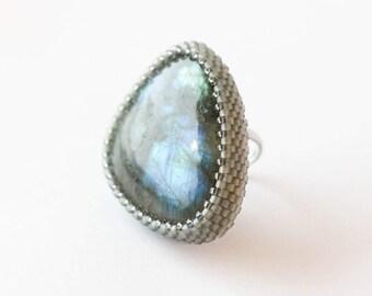 Designer Labradorite Ring. Blue Labradorite Irrization. Big Gemstone Ring. Gift for her.  Beaded Ring. Size Adjustable Ring.