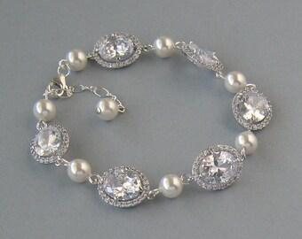 Genuine Swarovski White Pearls, Cubic Zirconia, Bridal Bracelet, Rhodium Plated,Oval Crystal Bracelet, Bridesmaid Gift,Wedding Jewelry-DK794