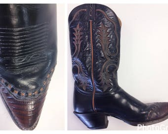 Black Tony Lama Cowboy boots with brown lizard toe and orange stitching size 9.5