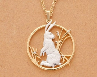 "Rabbit Pendant & necklace, Year of the Rabbit Chinese Coin Hand Cut, Plated in 14 Karat Gold and Rhodium, 1 1/4"" in Diameter, ( # 557 )"