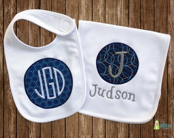 Monogrammed Baby Boy Bib & Burp Cloth Set, Personalized Baby Bib and Burp Cloth, Appliqué Bib and Burp Cloth, Baby Shower Gift Set