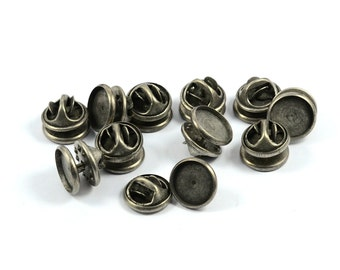 100 Pcs. Antique  Silver  10 mm Round Bezel Tie Tack Blanks