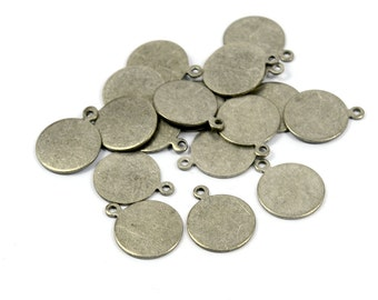 100 Pcs. Antique Silver 13 mm (0.8 mm Thick ) Round Stampin Blanks Findings