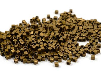 100 Pcs. Antique Brass 2x2 mm Solid Cube Geometric Bead Findings