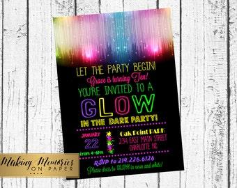 Glow in the dark invitation, glow invite, glow invitation, Disco Ball- Just Dance - Dance Party- TWeen- Diva Birthday Printable Invitation
