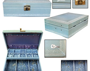 Vintage Jewelry Box W/ Key / Retro Jewelry Box / Pin-up Jewelry Box / Burlesque Jewelry Box