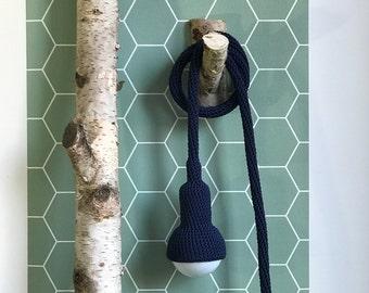 Lampe, garden pendant, crocheted in navy, 6 meter cord