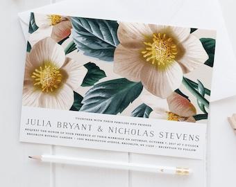 Vintage Botanical Wedding Invitation Set,Floral Wedding Invites,Classic Vintage Style Flower illustration,Rose Nude Wedding Suite,Green Leaf