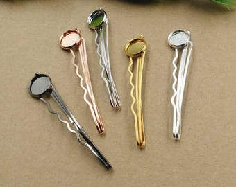 20pcs/100pcs Hair Clips - 12mm Bobby Pins Blank - Vintage DIY Hair Glass Setting - 12mm cabochon Hair Bezel Cabochon mounting - Hair Blanks