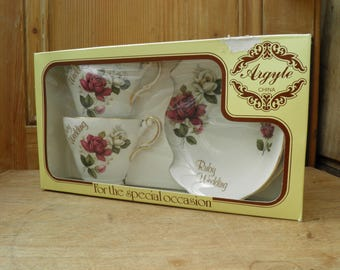 Vintage Boxed Pair of Argyle China Ruby Wedding Tea Cups, Anniversary Present, Tea Cup and Saucer, Tea Cup Set, Serving, Home Decor,