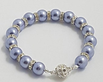 Lilac Bride / Bridesmaid  Pearl Beaded Bracelet, Wedding Jewllery, Bridesmaid gifts, Flowergirl gift, Pearls, Lilac Pearls, Wedding