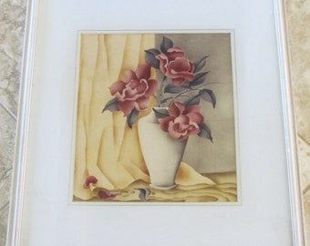 1930s Vintage Art Deco Floral Still Life Watercolor California Artist S Campbell
