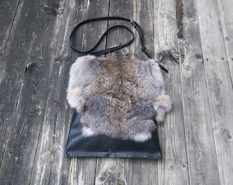 Black Leather and Rabbit Fur Cross Body Bag / Messenger Bag / Leather Shoulder Bag Boho handbag