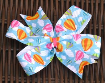 Hot Air Balloon 4 Inch Pinwheel Hair Bow - Hot Air Ballon 4 Inch Hair Bow -  Balloon Party Favor - Balloon Hair Accessory - BowBravo
