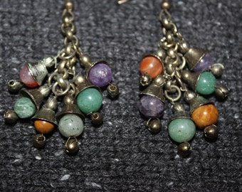 Vintage Cluster Dangle Earrings With Semi Precious Stones