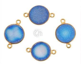 4th July30% OFF Light Blue Color Druzy, Bezel Round Shape Connector, 12mm Round 24K Gold Plated, Double Bail 1pc. (LCZ-11156)