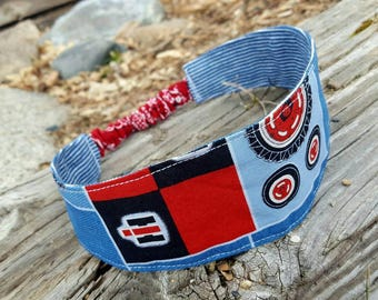 Red Tractor Headband, Pinstripe Denim Headband Headband, Reversible Fabric Headband, Farm Girl Headband