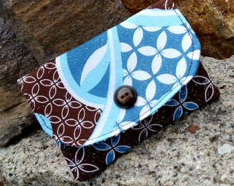 Brown and Turquoise  Quilted Business Card Holder, Small Fabric Wallet, Pocket Wallet