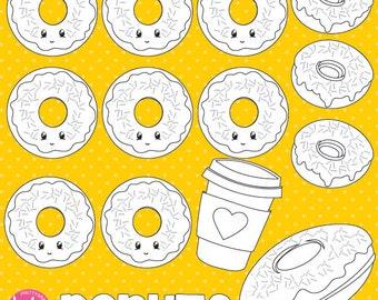 80% OFF SALE Donut digital stamp commercial use, vector graphics, digital stamp  - DS870