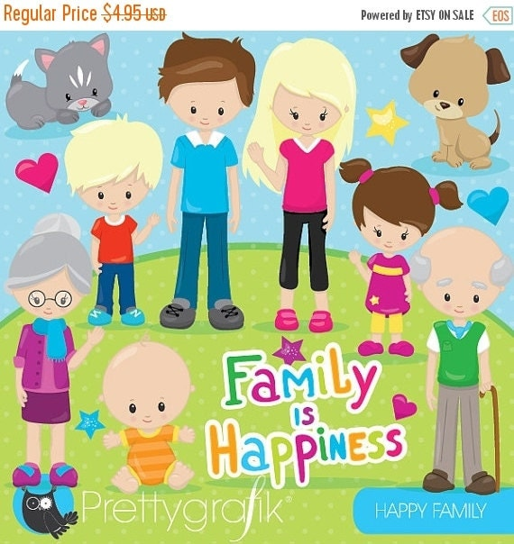 80% OFF SALE Happy family clipart commercial use