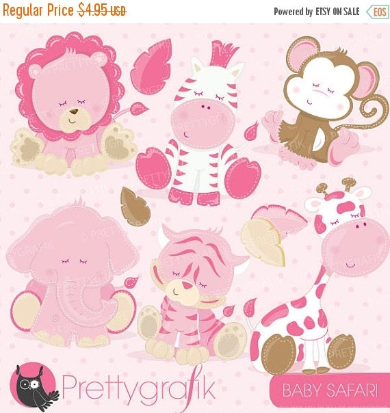 80% OFF SALE Baby Safari Animals clipart commercial use, pink baby ...
