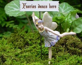 Dancing Fairy accessories, fairy figurine, supply for miniature garden terrarium, cake topper, handmade sign faeries dance here! cake topper